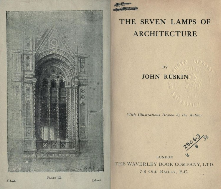 Leituras essenciais: John Ruskin e as 'Sete Lâmpadas da Arquitetura', Capa do livro 'The Seven Lamps of Architecture'