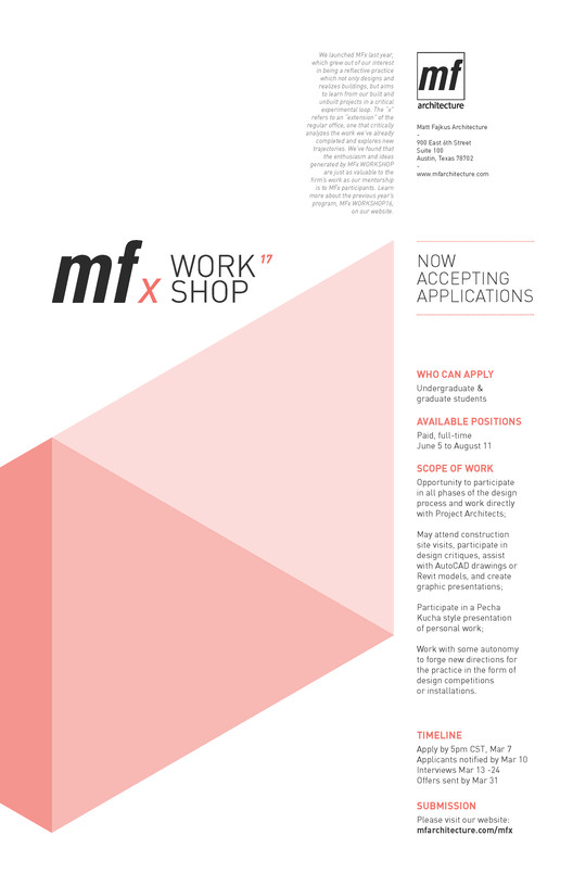 Call for Applications: MFx WORKSHOP!, Now accepting applications for the MFx WORKSHOP!