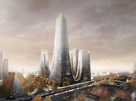 The Cradle Towers of Zhengzhou will contain apartments, offices, retail, leisure, and a hotel. Image Courtesy of Tonkin Liu