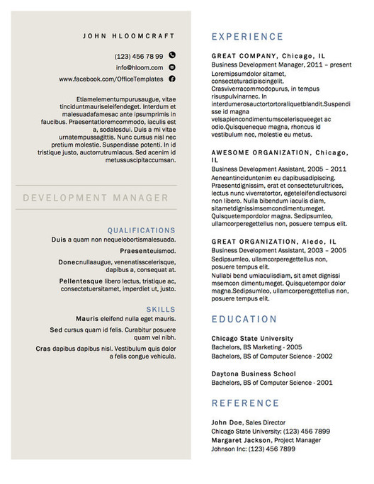 formal resume templates
