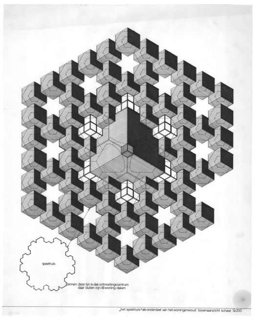 Total Space: Considering Dutch Structuralism Today, Piet Blom, the Speelhuis Theatre and Cube Houses, c. 1974. Blom drew the roofs of the theatre with some of the surrounding 188 houses. The star-shaped void for admitting daylight is created by omitting one cube. Image © Het Nieuwe Instituut, Rotterdam, Blom, P. / Archive (BLOM), inv. nr. BLOM137