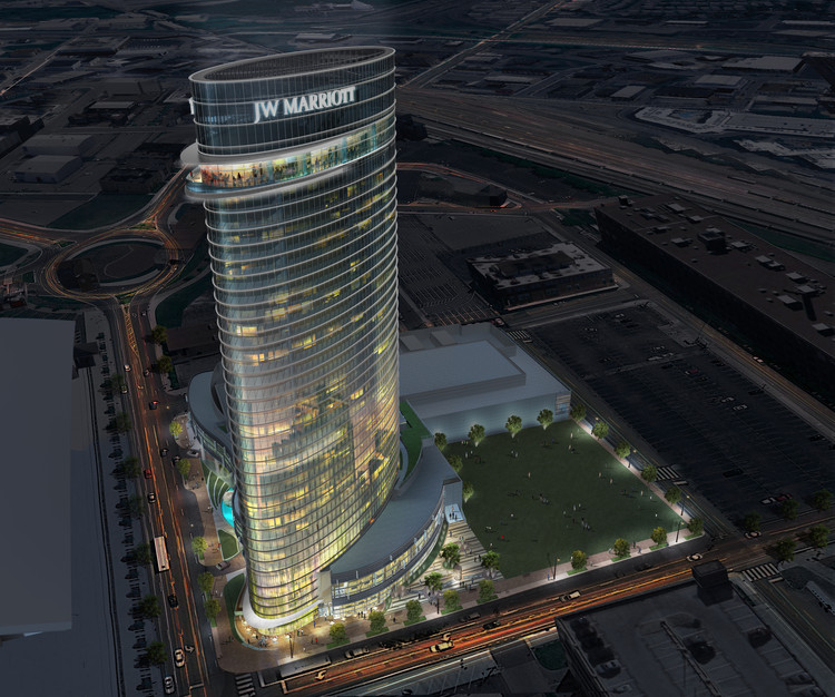 La torre ondulante de hotel de Arquitectonica será el próximo punto de referencia en Nashville, © Arquitectonica