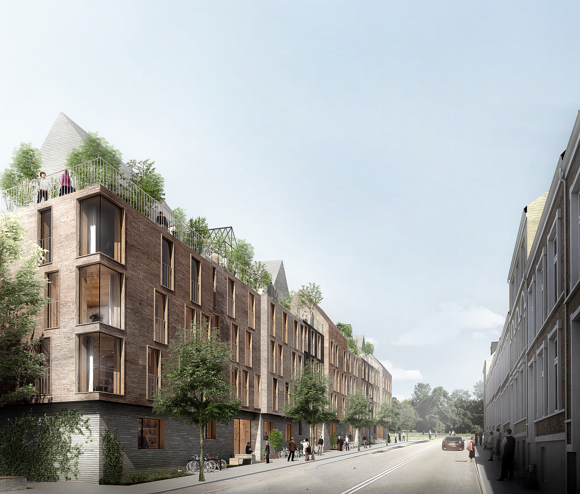 Urban Modern Apartment Design For Housing: WE Architecture's Winning Proposal Combines Green Space