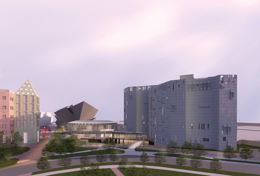 Proposed architectural rendering of an aerial view of the North Building at dusk. Image Courtesy of Fentress Architects and Machado Silvetti