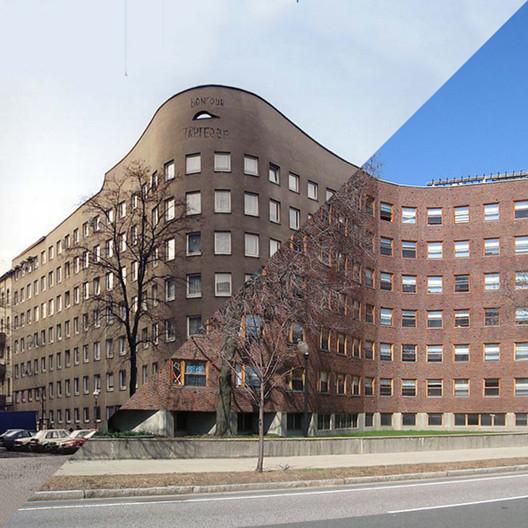 Alvaro SizaVieira,Wohnhaus Schlesisches Tor (Bonjour Tristesse), Berlin, 1980-1984 — Alvar Aalto,MIT Baker House Dormitory,Cambridge, MA, USA, 1947-1948. Image © Davide Trabucco