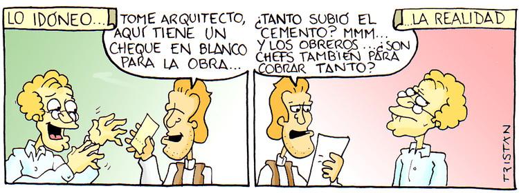 La relación entre el arquitecto y el cliente: tiras humorísticas por Tristán Comics, Cortesía de Tristán Comics