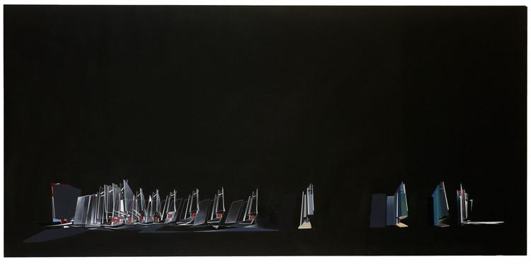 Tchoban Foundation Presents: Berlin Projects, Architectural Drawings 1920–1990, Zaha Hadid. Office building on Kurfuerstendamm, 1986, spray paint on cardboard, 97 x 200 cm © Deutsches Architekturmuseum, Frankfurt am Main; Photo: Uwe Dettmar, Frankfurt am Main © Zaha Hadid Foundation