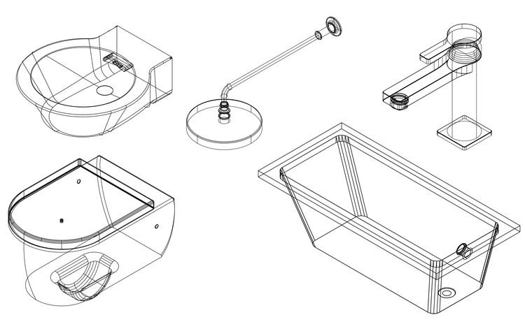 Torneiras, chuveiros, cubas e sanitários: Blocos CAD gratuitos em 2D e 3D, Cortesia de Porcelanosa Grupo
