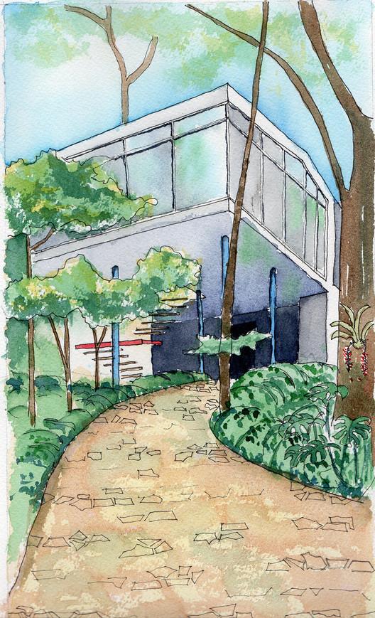 Chamada de trabalhos para o 5º Seminário DOCOMOMO SP, Casa de Vidro, Lina Bo Bardi, 1949. Aquarela de Lêda Brandão de Oliveira.