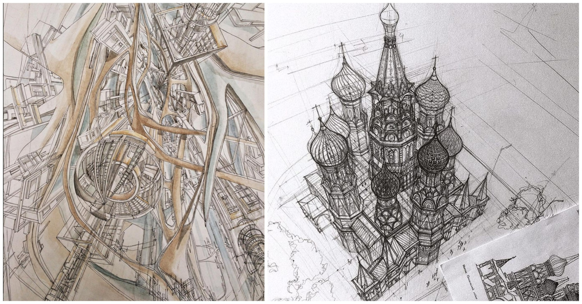These beautiful architectural sketches show hand drawing is alive and well