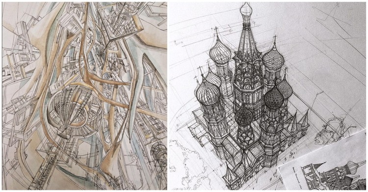 These Beautiful Architectural Sketches Show Hand-Drawing is Alive and Well, via Adeleena Gareeva