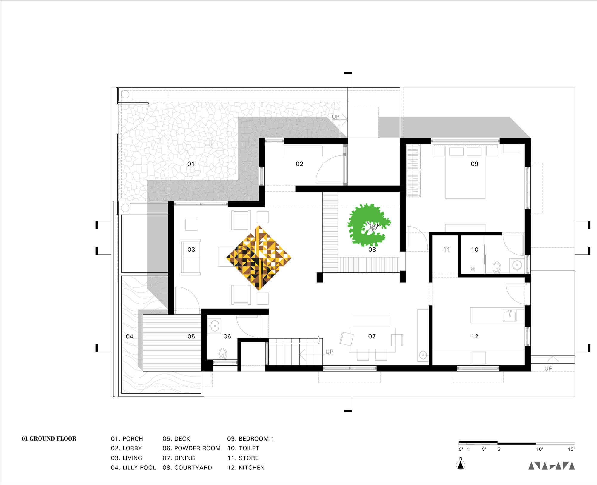 Padival House / Anahata. 25 / 36. Ground Plan