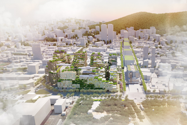 A Blend of Past and Future - KCAP's Competition-Winning District for Seoul, The scheme's massing responds to the rhythm of surrounding streets. Image Courtesy of KCAP
