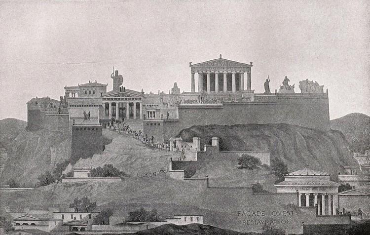 Clássicos da Arquitetura: Acrópole de Atenas / Ictinus, Callicrates, Mnesikles e Phidias, Uma elevação de toda a Acrópole vista do oeste; enquanto o Parthenon domina a cena, é no entanto apenas parte de uma composição maior. ImageCourtesy of Wikimedia user Quibik (Public Domain)
