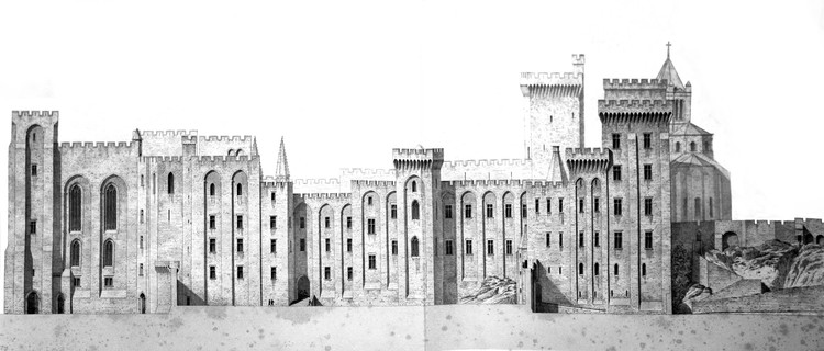 AD Classics: Palais des Papes / Pierre Poisson & Jean de Louvres, An elevation of the palace's eastern façade by Eugène Viollet Le-Duc. ImageCourtesy of Wikimedia user Ampon (Public Domain)