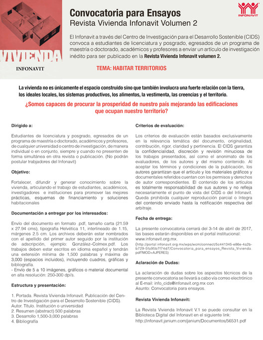 Convocatoria para ensayos: Revista Vivienda Infonavit V.2