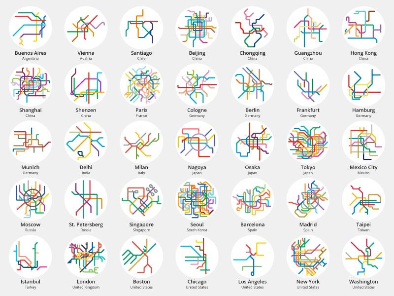 '220 Mini Metros' ilustra las redes de metro y trenes de ciudades de todo mundo