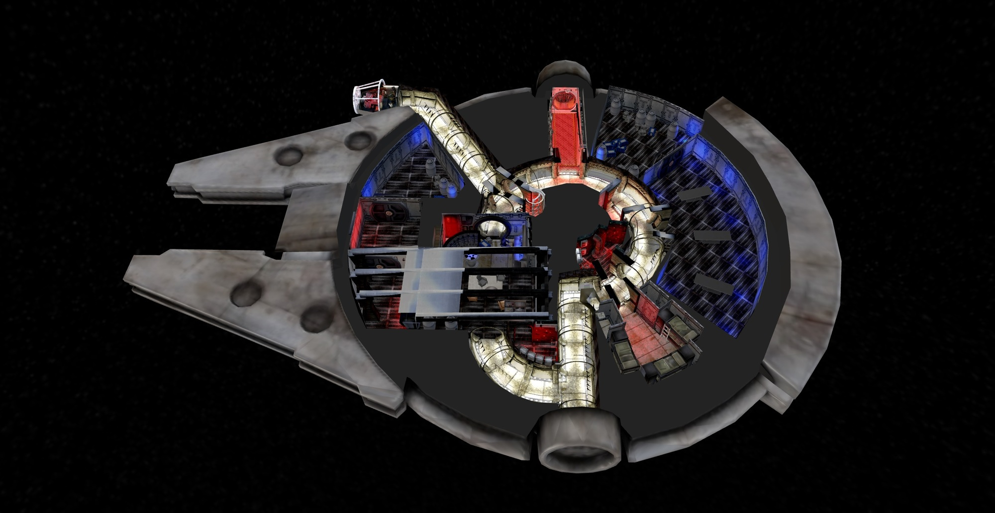 """Take a Virtual """"Fly-Through"""" of the Star Wars Millennium Falcon With This 3D Model"""