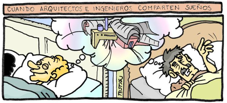 La relación entre el arquitecto y el ingeniero: tiras humorísticas por Tristán Comics, Cortesía de Tristán Comics