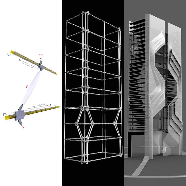 Start-up desarrollará prototipo de estructura sismorresistente inspirada en el cuerpo humano, Despiece estructural. Image © Zero Damage