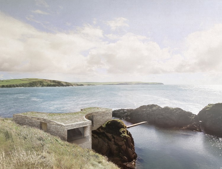 View of the proposed hotel suite from above, looking over the mermaid pool. Image © Carmody Groarke