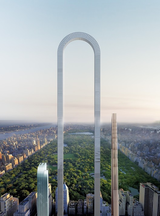 """""""The Big Bend"""" Imagines the World's Longest Skyscraper for Billionaires' Row in NYC"""