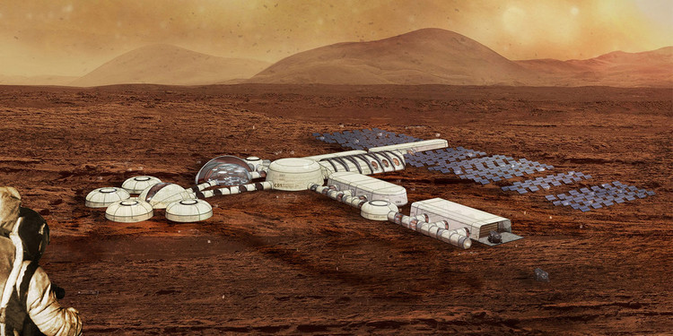 KieranTimberlake is Using Virtual Reality to Design a Home for Future Life on Mars, The virtual Mars City base. Image Courtesy of KieranTimberlake