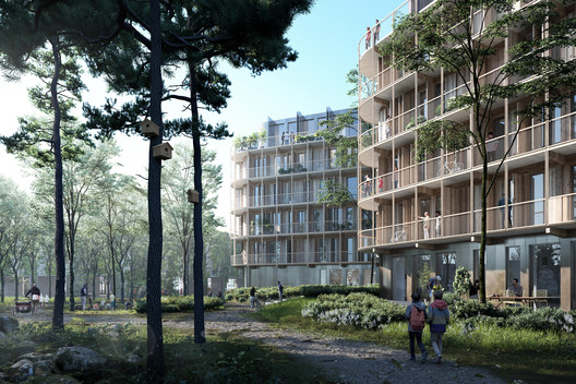 The new buildings feature cross-laminated timber cores, and wooden detailing. Image Courtesy of Kjellander Sjoberg