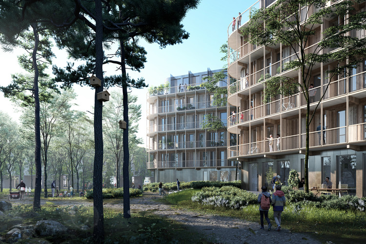 Kjellander Sjöberg Designs Four Cross-Laminated Timber Blocks to Enrich the Uppsala Cityscape, The new buildings feature cross-laminated timber cores, and wooden detailing. Image Courtesy of Kjellander Sjoberg