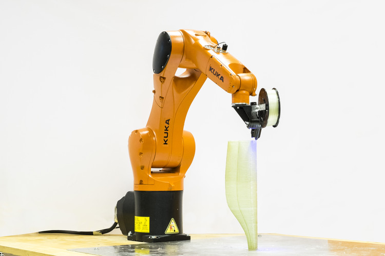 This 6-Axis Robot Arm Can 3D Print Fiberglass Composites, Atropos was developed by architects and engineers at the Politecnico di Milano's +Lab. Image Courtesy of Politecnico di Milano