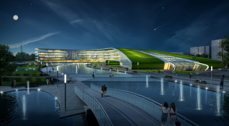 Calligraphy-Inspired Lakeside Hotel Proposed as the Centerpiece of Shanghai's Fengxian District, Courtesy of GroupGSA