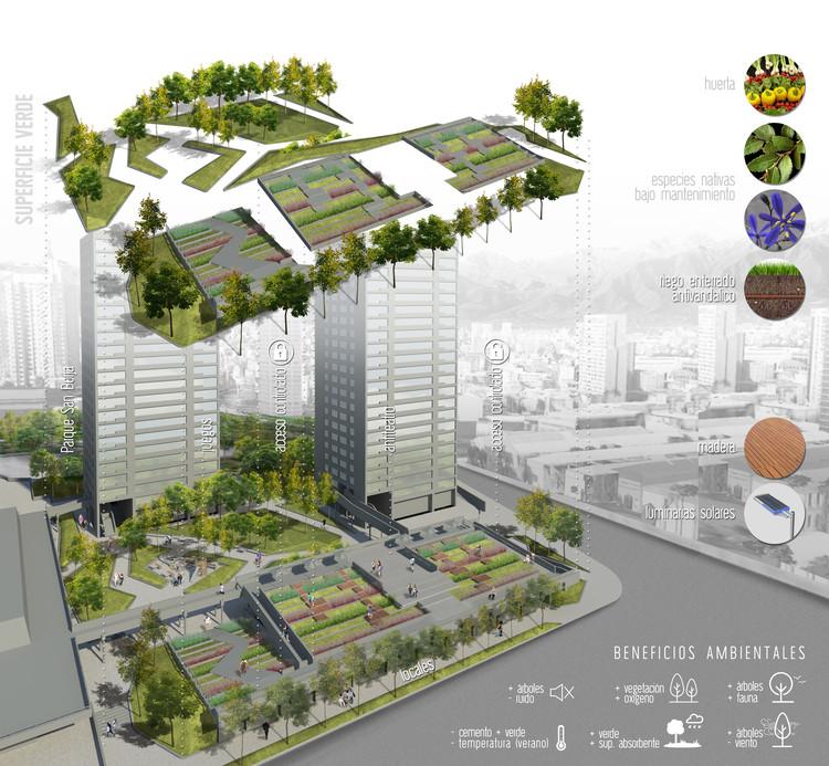'San Borja + Verde', ganador del primer concurso de ideas para transformar Pasarelas Verdes en Santiago, Lámina 01 (Detalle). Image Cortesía de Pasarelas Verdes