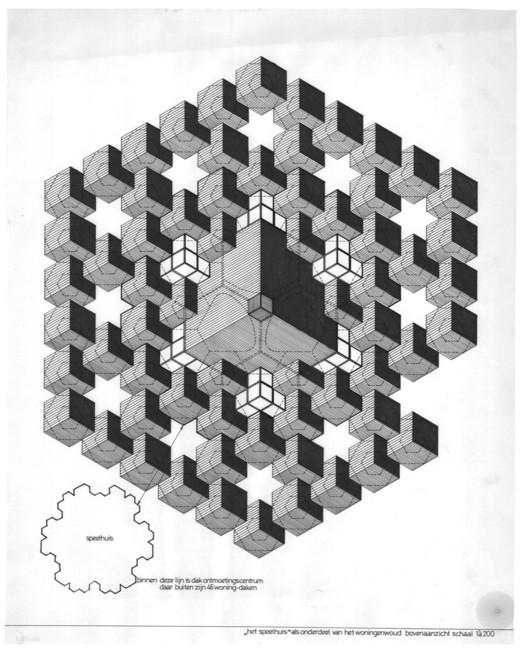 Total Space: Considerando o estruturalismo holandês atualmente, Piet Blom, o Teatro Speelhuis e Casas Cubistas, c. 1974. Blom desenhou os telhados do teatro com algumas das 188 casas do entorno. O vazio em forma de estrela para admitir a luz do dia é criado ao retirar um cubo. Image © Het Nieuwe Instituut, Rotterdam, Blom, P. / Archive (BLOM), inv. nr. BLOM137
