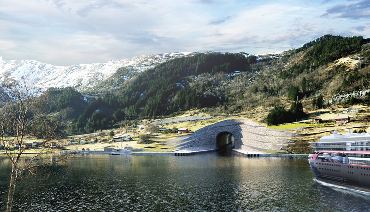 Snøhetta Unveils Plans for World's First Ship Tunnel in Norway, Examinations of the bedrock in Kjødepollen shows that there is more sediment than first expected. That means that the portal must be built on a larger area than previously planned. For practical and safety reasons, the entrance is proposed built as terraces. The terrace surfaces can be established by known principles for withdrawal of loads, with a combination of construction methods such as wire-cutting and blasting.. Image © Norwegian Coastal Administration/Snøhetta