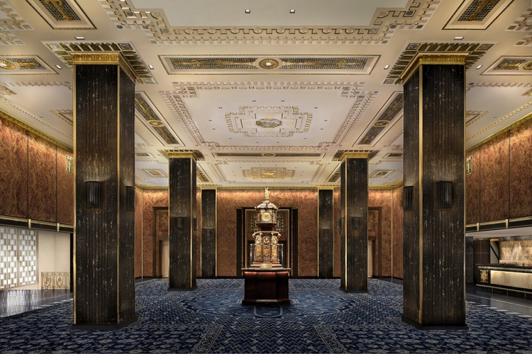 SOM to Lead Major Restoration of New York's Waldorf Astoria, Lobby. Image © Skidmore, Owings & Merrill LLP/ rendering by Methanoia Inc.