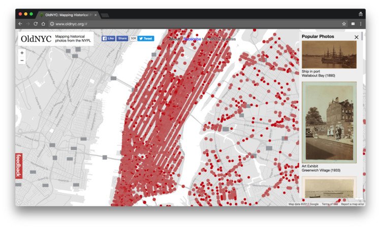 OldNYC: Um mapa do passado de Nova Iorque , Screenshot do website OldNYC
