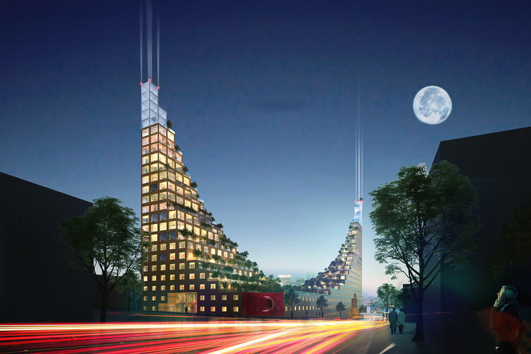 Hanging Gardens of Babylon-Inspired Residential Units Proposed for Birmingham, Courtesy of Architects of Invention