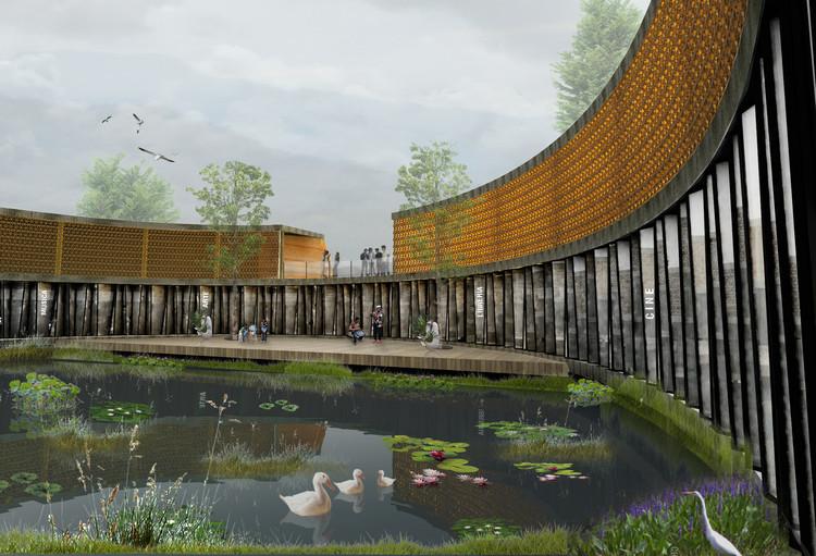 """Ganadores del Primer Concurso Internacional de Arquitectura Aplicada """"Centro Internacional de las Artes"""", Uno de los renders entregados por el equipo del proyecto ganador. Image Cortesía de Proyecto Posh"""