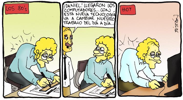 El arquitecto y la tecnología: tiras humorísticas por Tristán Comics, Cortesía de Tristán Comics