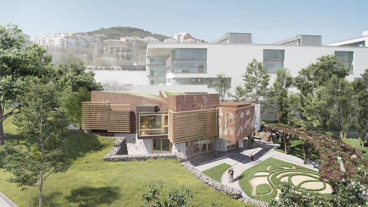 EMBT Breaks Ground on Pioneering Cancer Center in Barcelona, Render – Kálida Sant Pau Centre. Image © Playtime
