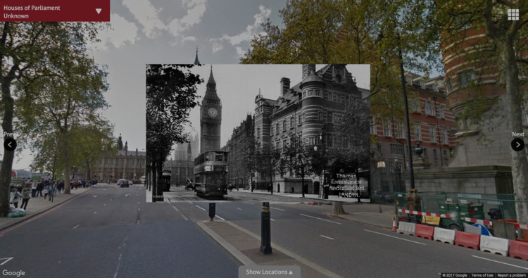 This Interactive Map Shows How London Has Changed Over the Past 100 Years, Houses of Parliament – Then and Now. Image Courtesy of Expedia
