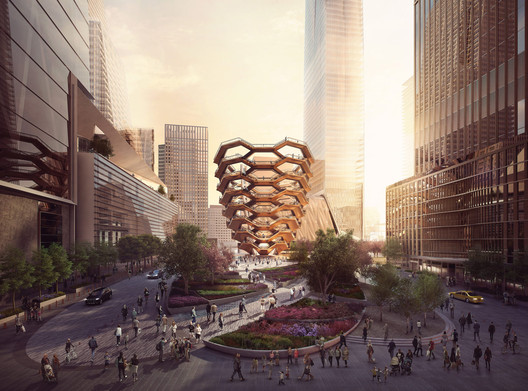 The 150-foot-tall steel structure has been compared to a bedbug, a beehive, and a döner kebab. Its base is 50 feet wide and its upper span measures 150 feet. Image Courtesy of Forbes Massie, Heatherwick Studio