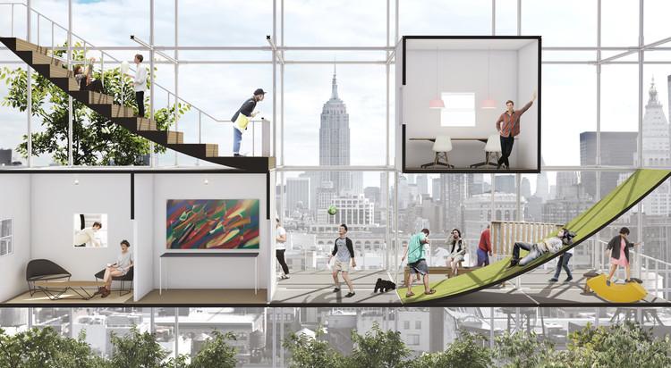 Esta propuesta busca aprovechar los derechos aéreos en Nueva York para construir vivienda social, Cortesía def Beomki Lee y Chang Kyu Lee