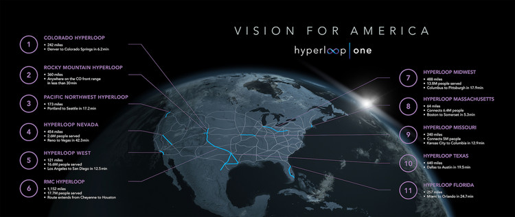 Hyperloop One Releases Map of 11 Proposed US Systems ArchDaily