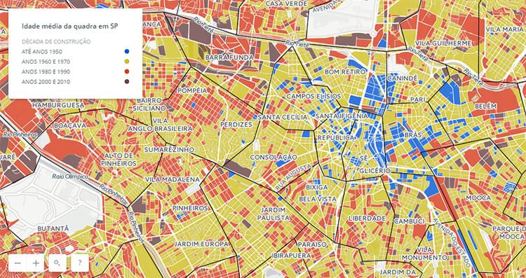 São Paulo é uma cidade dos anos 70: um a cada quatro imóveis é daquela década, Screenshot do mapa interativo da idade dos imóveis em São Paulo, produzido pelo jornal Estadão. Em amarelo os imóveis da década de 1960 e 1970.