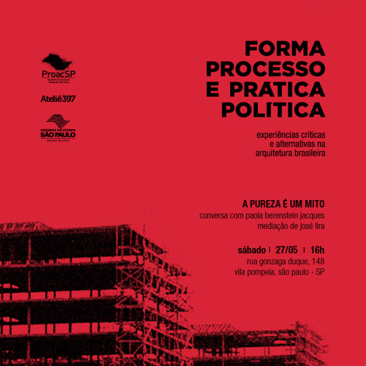 """Conferência """"A pureza é um mito"""", com Paola Berenstein Jacques, Divulgação"""
