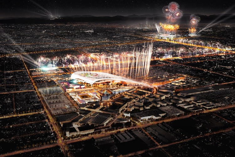 See the Proposed Sites of LA's 2024 Olympic Bid, Main Stadium - Future home of the NFL's LA Rams. Image Courtesy of LA 2024