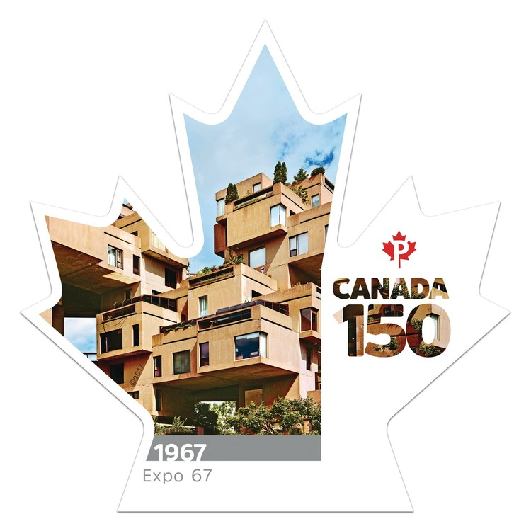 Canada Post Commemorates Canada's 150th Anniversary with Habitat 67 Stamp, via Canada 150 - Expo 67 (CNW Group/Canada Post)