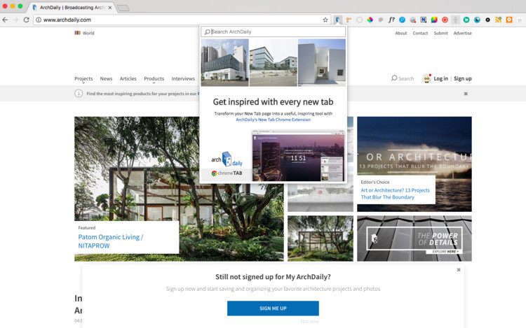 14 Chrome Extensions to Make Your Architecture Browsing More Efficient, ArchDaily Chrome Extension. Image