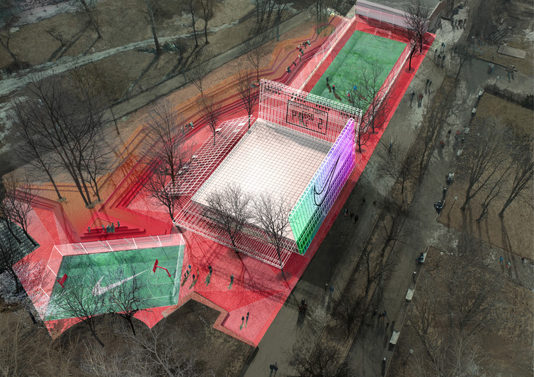 KOSMOS Architects Wins Competition for Landmark Nike Sports Park in Moscow, Nike Air Box / Kosmos Architects. Image Courtesy of Nike
